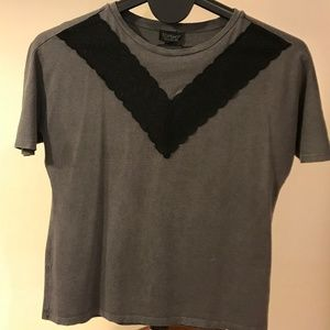 TopShop gray t-shirt with lace detail